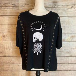BlackCraft Cult Black Skull & Rose Black Crop Tee